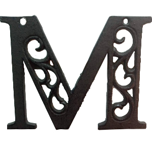 Letra M de hierro de 20cm