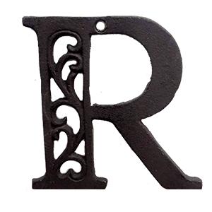 Letra R de hierro de 20cm