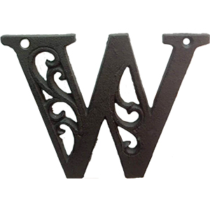 Letra W de hierro de 20cm