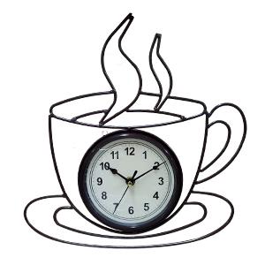 Reloj de metal para pared diseño taza de café de 33x31x5cm