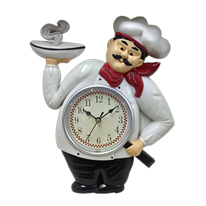 Reloj de plastico para pared diseño Chef de 30x24.6x4.2cm
