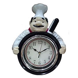 Reloj de plastico para pared diseño Chef con sartén de 29.3x23.5x6cm