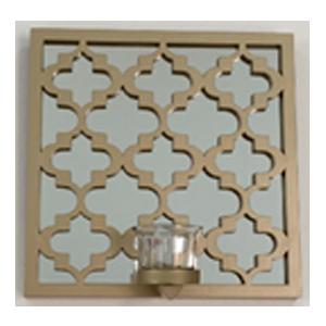 Espejo de pared cuadrado diseño rombos dorado con candelabro de 25.4x25.4x7.5cm