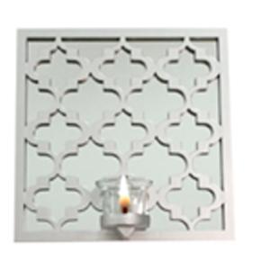 Espejo de pared cuadrado diseño rombos plata con candelabro de 25.4x25.4x7.5cm
