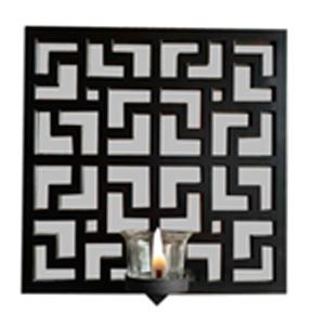 Espejo de pared cuadrado diseño grecas negro con candelabro de 25.4x25.4x7.5cm