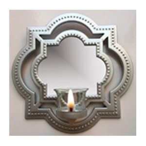 Espejo de plastico para pared plata con candelabro de 25.4x25.4x7.5cm