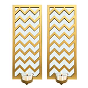 Juego de 2 espejos de pared rectangular dorado con líneas en zigzag y candelabro de 38.1x15.2x7.5cm