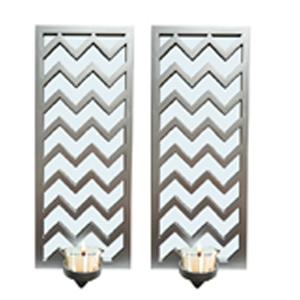 Juego de 2 espejos de pared rectangular plata con líneas en zigzag y candelabro de 38.1x15.2x7.5cm