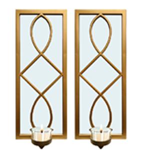 Juego de 2 espejos de pared rectangular dorado con diseño  y candelabro de 38.1x15.2x7.5cm