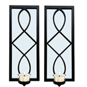 Juego de 2 espejos para pared rectangular negro con diseño  y candelabro de 38.1x15.2x7.5cm