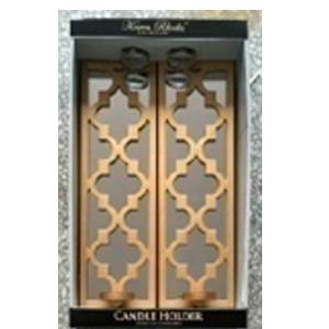 Juego de 2 espejos para pared rectangular dorado con diseño de rombos  y candelabro de 40x12x7cm