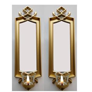 Juego de 2 espejos para pared rectangular dorado con diseño  y candelabro de 40.6x12.7x7.5cm