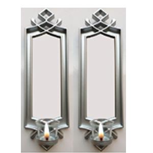 Juego de 2 espejos para pared rectangular plata con diseño  y candelabro de 40.6x12.7x7.5cm