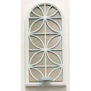 Espejo de pared blanco diseño ventana con candelabro de 38cm
