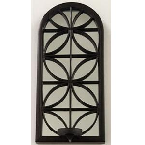 Espejo de pared negro diseño ventana con candelabro de 38cm