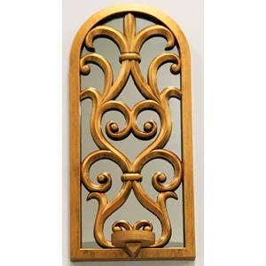 Espejo de pared dorado diseño ventana con candelabro de 38cm