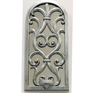 Espejo de pared plata diseño ventana con candelabro de 38cm