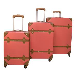 Juego de 3 Maletas de carrito rosa con aplicaciones en polipiel café
