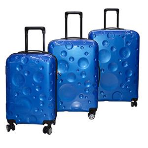 Juego de 3 Maletas de plastico diseño circulos en color azul