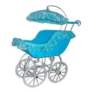 Carriola para niño azul con encaje de 70x34x87cm