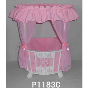 Cuna blanca con cortinas en rosa para niña de 40x40x57