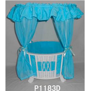 Cuna blanca con cortinas en azul para niño de 40x40x57