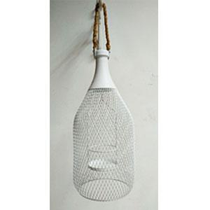 Candelabro de malla blanco diseño botella de 20x46cm