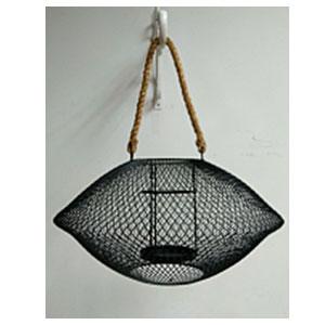 Candelabro de metal ovalado de malla negro de 42x21cm