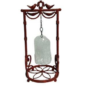 Candelabro de metal rojo diseño aves con pantalla diseño jaula de 28x24x54cm