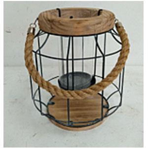 Linterna cilindrica de alambron con madera de 23x27cm