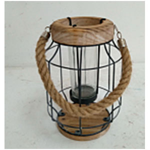 Linterna cilindrica de alambron con madera de 18x23cm