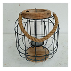 Linterna redonda de alambron con madera de 27x30cm