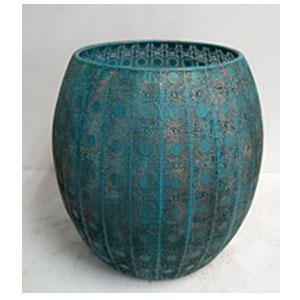 Maceta de metal Oval azul de 60x60cm