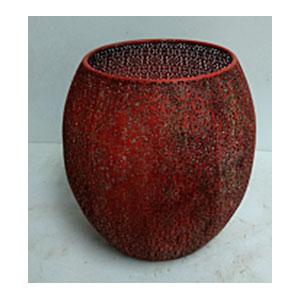 Maceta de metal Oval roja de 44x44cm