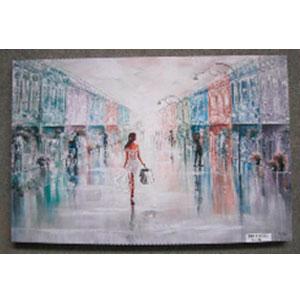 Cuadro estampado Mujer caminando por la calle de 60x90x2.5cm