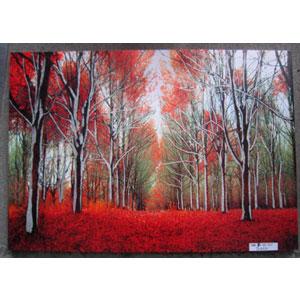 Cuadro estampado camino de árboles con hojas rojas de 60x90x2.5cm