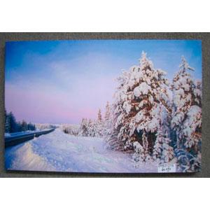 Cuadro estampado camino nevado de 60x90x2.5cm