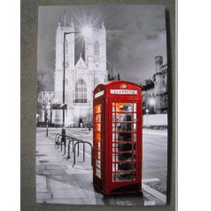 Cuadro estampado Paisaje de Londres y Cabina Telefónica de100x150x3.8cm