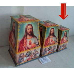 Caja de madera con tapa diseño Sagrado Corazón de Jesus de 16x16x24cm
