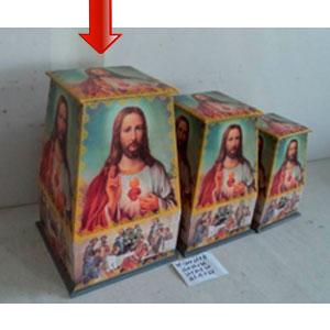 Caja de madera con tapa diseño Sagrado Corazón de Jesus de 24x24x36cm