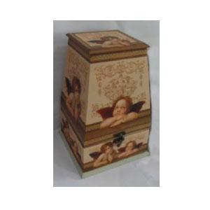 Caja de madera con tapa diseño Angeles de 20x20x30cm