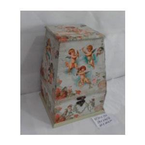 Caja de madera con tapa diseño Angeles de 16x16x24cm