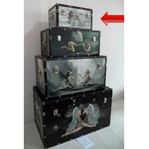 Baúl de madera rectangular con estampado de Hada de 34x20x18cm