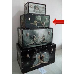 Baúl de madera rectangular con estampado de Hada de 48x28x22cm