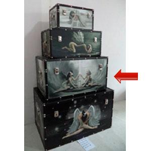 Baúl de madera rectangular con estampado de Hada de 59x36x31cm