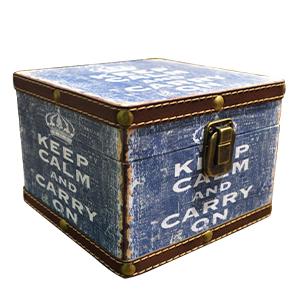 Caja diseño vintage azul con textos de 20x20x16cm