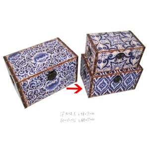 Baúl con estampado de mosaicos azules 51x32x25cm