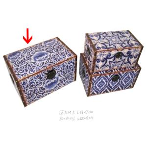 Baúl con estampado de mosaicos azules 58x37x30cm