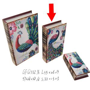 Caja/Portalibros diseño Pavorreal de 29x19x7cm