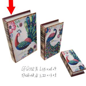 Caja/Portalibros diseño Pavorreal de 35x26x9cm